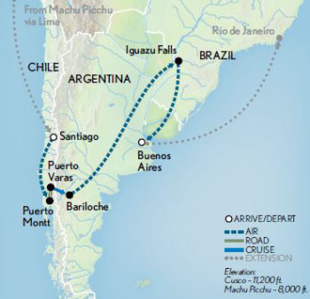 Luxury Small Group Journeys Wonders Of Chile Argentina - Argentina highlights map